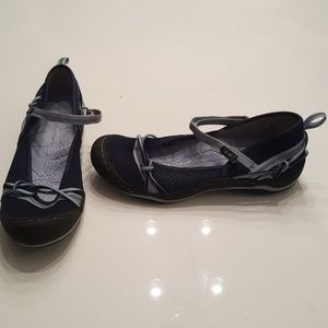 J-41 Navy and Light Blue Mesh Mary Jane Flats
